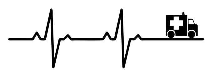 Rescue symbol and cardiogram