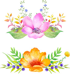 Watercolor floral composition. Romantic set of hand drawn plants, berries and flowers for design.