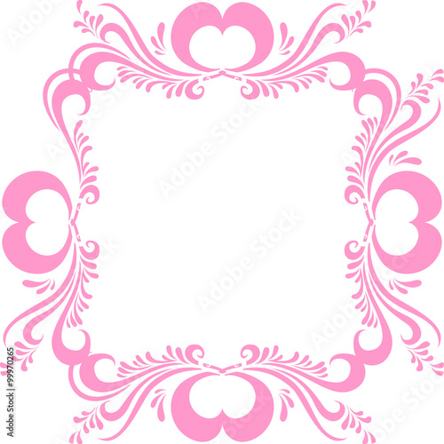Stylized pink picture frame, with ornate pattern, and hearts for ...