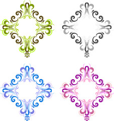 Four diamond shaped vintage frame for photos with a square in the center. Black, blue, green and pink. Ornate square frames for photo in vector