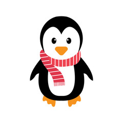 penguin and scarf on a white background