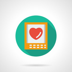 Valentines Day greeting round flat vector icon