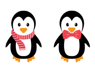 penguin with tie and scarf on a white background