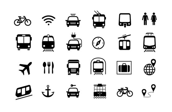 Set of transport icons ready for your design. Prepared for use in any size on different devices