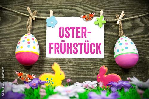 Osterfruhstuck Einladung Ostern Osterbrunch Stockfotos Und