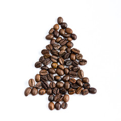 Christmas tree made of coffee beans
