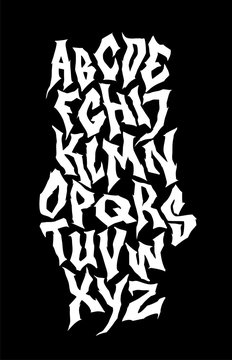 Spooky hand lettering font. Vector alphabet