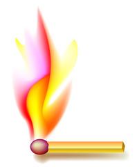 Illustration of burning Match, vector cartoon image.