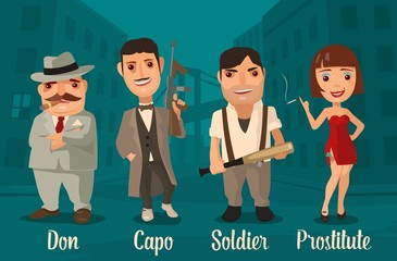Set of characters Mafia. Don, capo, soldier, prostitute. Vector flat illustration on background of city streets