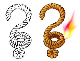 Colorful and black and white sign of question mark, vector image.