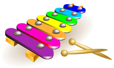 Illustration of xylophone, vector cartoon image.