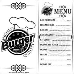 Меню. Логотип кафе и ресторана быстрого питания.