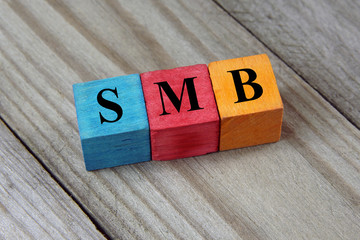 SMB text (Small Medium-sized Business) on colorful wooden cubes