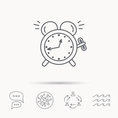 Alarm clock icon. Mechanical retro time sign.