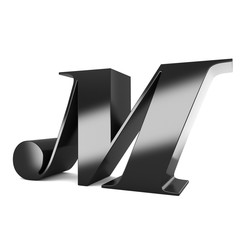 3d black metal letter M isolated white background