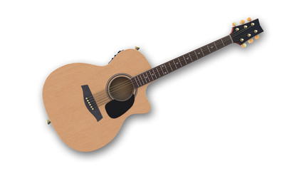 Acoustic-electric guitar, music instrument isolated on white background, front view