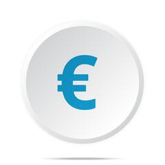 Flat blue Euro icon on circle web button on white