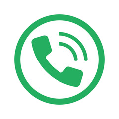 Flat green Phone icon and green circle