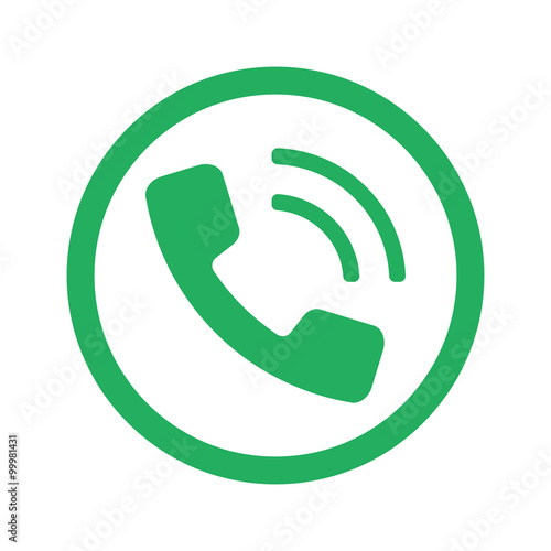Flat Red Phone Icon In Circle On White Stock Image And Royalty Free