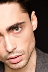 Model man's face close-up
