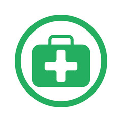 Flat green First Aid Kit icon and green circle