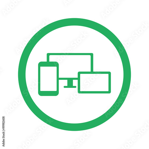 Flat green Responsive Media Design icon and green circle