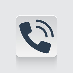Flat black Phone icon on rounded square web button