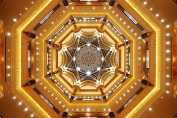 Beautiful ceiling of Emirates Palace in Abu Dhabi
