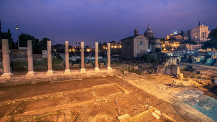 Wall Mural - Rome, Italy: The Roman Forum in sunrise