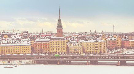 Stockholm old town colorful panoramic view
