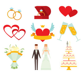 Wedding couple and icons cartoon style vector illustration