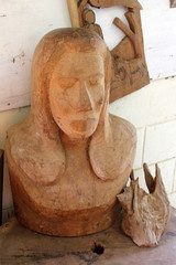 Wood Carving of a Human Face