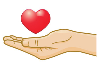 Conceptual heart on open hand vector image