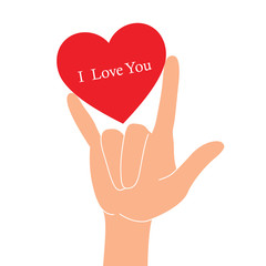 Hand in I love you sign, Vector Illustration isolated on white background