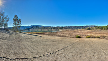 California drought leaves Lake Casitas boat launch ramp high above the waterline.