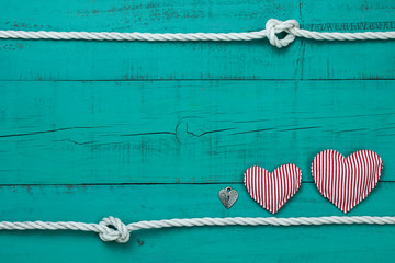 Blank wood sign with hearts and padlock