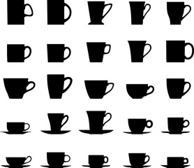 Set of different silhouettes tea cups isolated on white background. Vector illustration.