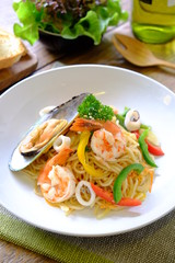 Seafood spaghetti Thai style, Our original Thai style pasta with seafood and vegetables