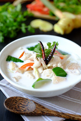 Tom Kha Kai is a spicy and sour hot soup with coconut milk and chicken, original Thai food.