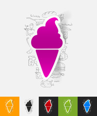 ice cream paper sticker with hand drawn elements