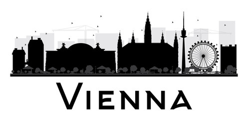 Vienna City skyline black and white silhouette. Some elements have transparency mode different from normal.