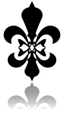 Glossy fleur de lis symbol with drop shadow