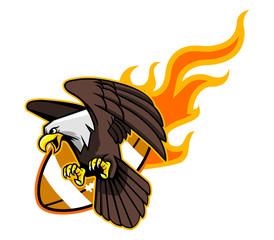 Flying Bald Eagle And Flaming Football