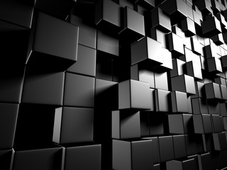 Abstract Dark Metallic Cubes Wall Background