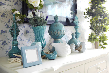 Mediterranean-style living room interiors,Closeup decorations