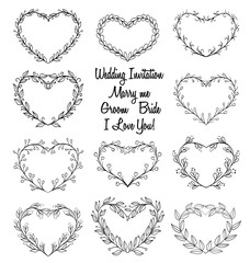hand drawn wreaths in heart shape frame. doodle vector illustrat