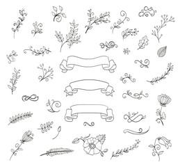 set of floral design elements. doodle wreaths, flowers, leaves,