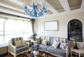 Mediterranean-style living room interiors