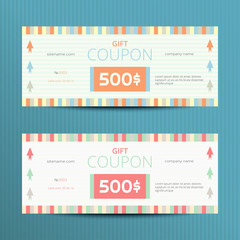 Gift voucher with elegant design. Gift card template. Coupon discount set. Voucher vector design. Coupon template with bright design.
