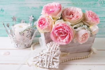 Background with sweet pink roses flowers  in wooden box, decorat